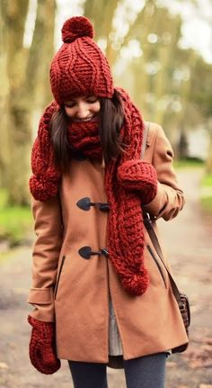 Lovely winter fashion with coat and knit hat and scarf