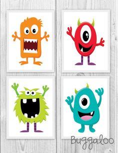 Items similar to Nursery Art, Monster Printables, Wall Art, Digital Printable, on Etsy Felt Monster, Cute Monsters, Monster Party, Drawing For Kids, Painting For Kids, Art For Kids, Monster Bedroom, Stone Drawing, Monsters