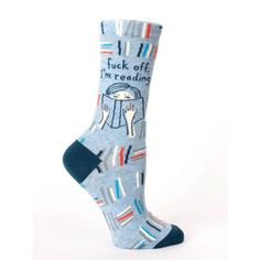 Off-White//Blue//Red Blue Q Women/'s Crew Socks OSFA Me When My Song Comes On