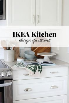Building a new IKEA kitchen? I'm answering the top questions I get asked over and over again about our white IKEA kitchen design. #ikeakitchen #quartzcountertops #whitekitchens #subwaytile #kitchendesign
