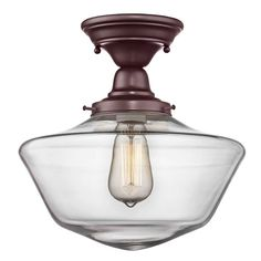 12-Inch Clear Glass Schoolhouse Semi-Flushmount Light In Bronze Finish | FBS-220 / GA12-CL | Destination Lighting