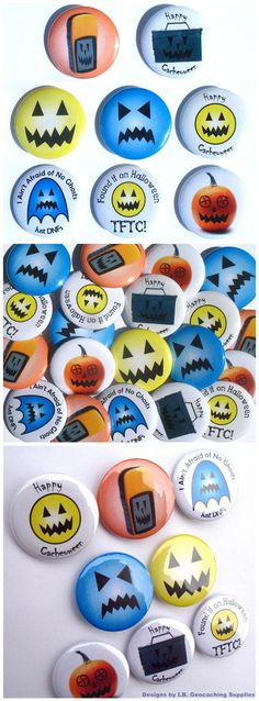 I ain't afraid of no ghosts, just DNFs! A set of 8 different geocaching button badges with a Halloween theme for dropping in caches or giving to geo-friends. Affordable geocache swag at only $3.49 from I.B. Geocaching Supplies.