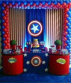 75 Blue and Red Party Themes Ideas - Spark Love Red Party Themes, Superhero Party Decorations, Birthday Party Decorations, Captain America Birthday Cake, Captain America Party, Captain America Costume, Avengers Birthday, Superhero Birthday Party, Spiderman