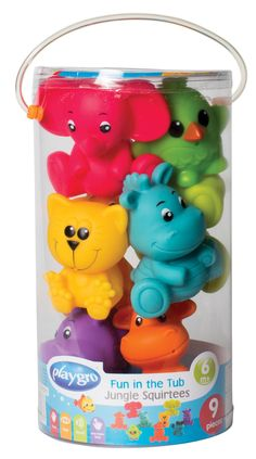 Make bath time fun with these Fun In The Tub Jungle Squirtees from PLAYGRO. The plastic animals come alive when the baby is bathin Baby Toiletries, Unisex Gifts, Water Play, Plastic Animals, Jungle Animals, Bath Time, Tub, Christmas Ornaments, Holiday Decor