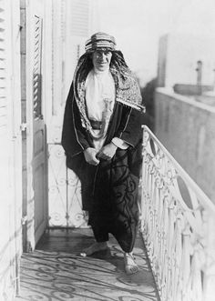 T E LAWRENCE 1888-1935 (Q 46093)   Colonel T E Lawrence on the balcony of the Victoria Hotel in Damascus on 3 October 1918, half an hour after he had resigned his position in the Arab Army.