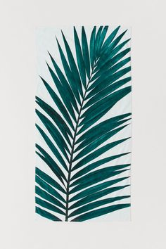 Printed Beach Towel - White/palm leaves - Home All Turtle Images, Motif Tropical, Bouclair, H&m Home, Garden Living, Home Comforts, White Towels, H&m Gifts, Leaf Art