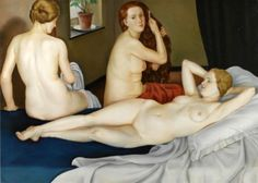"artbeautypaintings: "" Three nudes - Leonid Frechkop """