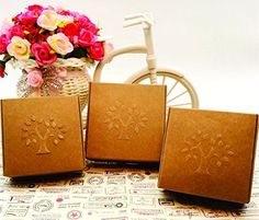 100pcsset 75753cm Embossing Tree Paper Craft Gift Box Handmade Soap Candy Cookies Packing Cardboard Boxes >>> You can find out more details at the link of the image from Amazon.com