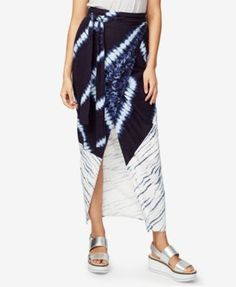 Rachel Rachel Roy Tie-Dye Faux-Wrap Skirt, Only at Macy's - Blue 10