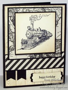 Stampin' Up! ... handmade train card from Create With Christy ... black and vanilla ... lots of layers ... steam engine focal image ... great card!