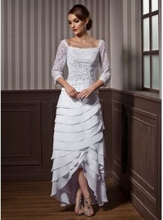 $201.99 - A-Line/Princess Square Neckline Asymmetrical Chiffon Wedding Dress With Ruffle Lace Beadwork  http://www.dressfirst.com/A-Line-Princess-Square-Neckline-Asymmetrical-Chiffon-Wedding-Dress-With-Ruffle-Lace-Beadwork-002012184-g12184