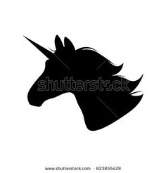Unicorn head silhouette. Hand drawn Vector illustration. Unicorn Logotype isolated on white. Magic animal profile. Easy to edit.