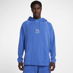 83456e22bb6 Jordan Sportswear Wings Men s Washed Fleece Pullover Hoodie Size L (Hyper  Royal) Mens Fleece
