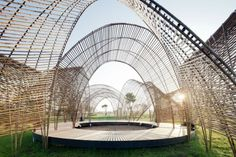 Forest Pavilion - serves as a shaded meeting and performance space for visitors to the Da Nong Da Fu Forest and Eco-park in Hualien province, Taiwan. The project was conceived within the context of an art festival curated by Huichen Wu of Artfield, Taipei for Taiwan's Forestry Bureau with the object of raising public awareness of a new growth forest that is being threatened by development.