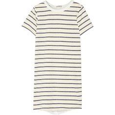 CLU Washed silk-paneled striped cotton-blend mini dress ($158) ❤ liked on Polyvore featuring dresses, tops, short ruffle dress, white silk dress, short white dresses, white striped dress and flounce dress