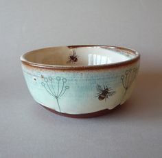 ceramic bowl // queen anne flowers & bees