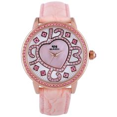 Pink Heart Diamond Students Fashion Leather Watch for Girl