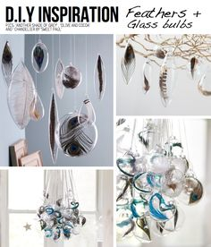 The feathers in bulbs all hanging around a simple suspended light fixture would be gorgeous! Or a cute mobile for a kids room. Or just a pretty decor piece! :)