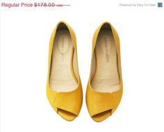 ON SALE Aya, peep toes, yellow shoes, handmade shoes, leather shoes, open toe, flats, sandals, tamarshalem