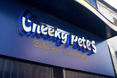Raised metal halo effect letters with aluminium tray sign