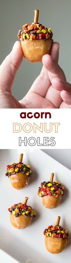 Donut Holes This acorn donut hole recipe is a fun way to celebrate the end of summer and the beginning of fall!This acorn donut hole recipe is a fun way to celebrate the end of summer and the beginning of fall! Thanksgiving Treats, Fall Treats, Holiday Treats, Fall Snacks, Thanksgiving Sides, Low Carb Dessert, Oreo Dessert, Dessert Recipes, Brunch Recipes