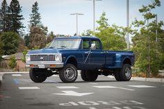"""""""Big Blue"""" Custom 1972 Chevy, 4x4, Longhorn, Crewcab, dually w/ a 454 bigblock engine."""