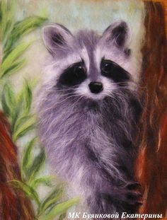 View album on Yandex. Cute Paintings, Animal Paintings, Needle Felted Animals, Felt Animals, Wet Felting, Needle Felting, Needle Felted Ornaments, Felt Wall Hanging, Felt Pictures