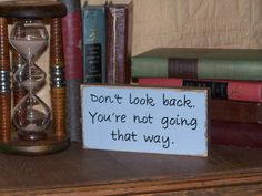 Wood Sign Home Office Decor, Country Cottage, Rustic, Inspirational Work Plaque, Encouragment Quote, Don't Look Back, color choice on Etsy, $7.95