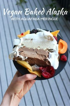 Vegan Baked Alaska with homemade dairy-free ice-cream layers, candied almonds & turkish delight, enclosed in aquafaba meringue.