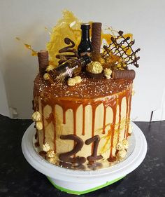 Caramel mud drip cake for a 21st