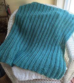 BABY AFGHAN BLANKET WRAP crochet handmade bulky acrylic SOFT CHUNKY sea green #Unbranded