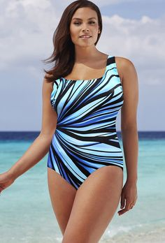 d491cb0a110 Longitude Blue Anchor X-Back One Piece Padded Swimsuits, Monokini Swimsuits,  Plus Size