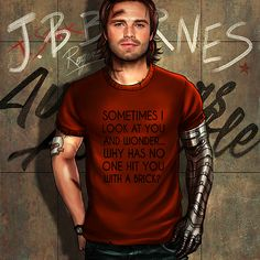 """""""The Avengers and Their Favorite T-Shirts"""" Series. (Post 1/3) If you are interested, these t-shirts really exist (except Sam's, it was a bit modified): Tony - Steve - Bucky - Sam Next batch - 2016:..."""