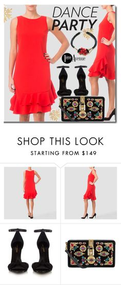"""""""Joseph Ribkoff Red Dress"""" by premiereavenue-boutique ❤ liked on Polyvore featuring Joseph Ribkoff, Yves Saint Laurent, Dolce&Gabbana and country"""
