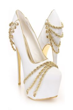 dff29a034973 New trends fashion design with   White And Gold Shoes Heels and White Gold  Chain Decor Platform Pumps Heel Shoes online store
