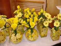"""Or other fruit, whatever the flowers are   Yellow center piece (Any flowers with lemon water"""""""