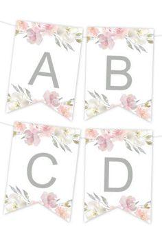 Blush Floral Printable Banner - Home Page Bridal Banner, Eid Banner, Free Banner, Floral Printables, Party Printables, Printable Templates, Origami Templates, Box Templates, Wedding Templates