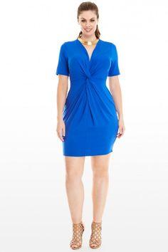 Plus Size Kia Knot Front Jersey Dress | Fashion To Figure