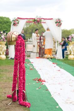 indian wedding aisle portrait