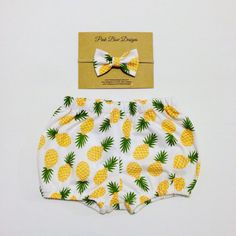 Pineapple Bloomers/bow on elastic/baby bloomers/birthday outfit/baby gift/pineapple outfit