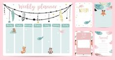 Cute weekly planner in boho style Premium Vector Kids Planner, Weekly Planner, Weekly Schedule, Estilo Boho, Timetable Planner, School Timetable, Zebra Illustration, Oil Pastel Drawings, Timeline Infographic