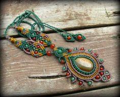 ☆ Picasso Jasper & Carnelian & Aventurine macrame necklace