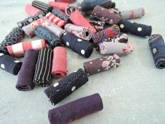 Fabric Textile beads for artisan jewelry designs fiber beads