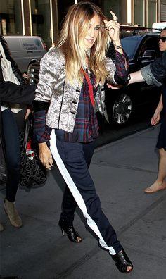 Sarah Jessica Parker wearing track pants.