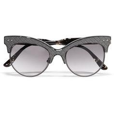 Bottega Veneta Cat-eye acetate and intrecciato leather sunglasses ($475) ❤ liked on Polyvore featuring accessories, eyewear, sunglasses, grey, acetate glasses, tortoise sunglasses, gray sunglasses, tortoiseshell cat eye sunglasses and cateye sunglasses