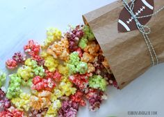Rainbow Popcorn made with melted Skittles