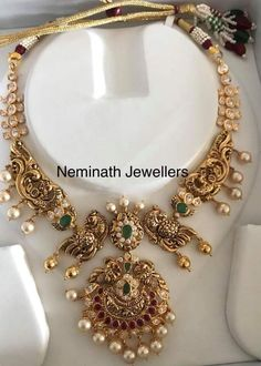 22 carat gold nakshi work choker with south sea pearls drops and two step pendant Indian Wedding Jewelry, Bridal Jewelry, Gold Jewelry, Indian Bridal, Jewelry Box, India Jewelry, Temple Jewellery, Antique Necklace, Gold Necklace