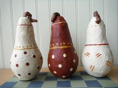 Pears Paper Mache  Set of 3 Red & White Art Sculpture Figurine Handmade Country Decor Shelf Setter Cottage Mantle Accessory Primitive Rustic by TheCopperFinch on Etsy
