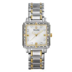From the Bulova Highbridge Collection. With 24 individually hand-set diamonds, mother-of-pearl dial, in stainless steel with two-tone finish.