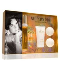 White Diamonds 5-piece Gift Set by k. $73.85. White Diamonds is a rich sensual floral fragrancewith the endless brilliance of a rare jewel. The fragrance dreams are made of. A timeless classic. This set contains 1.7 oz EDP; 1.7 oz Body Lotion; Mini Replica; 2 Scented Soaps.